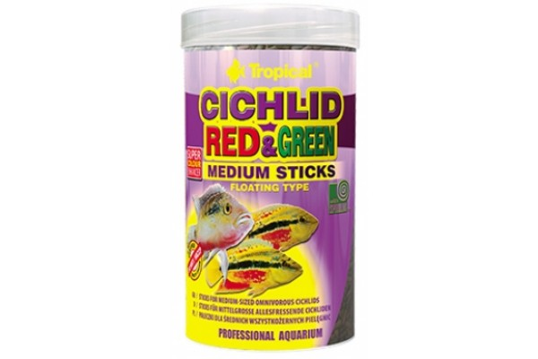 Tropical Cichlid Red&Green Medium Sticks 250ml/90g Dobozos