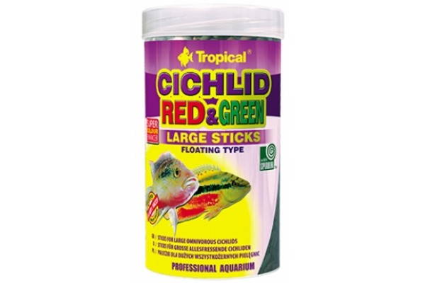 Tropical Cichlid Red&Green Large Sticks 250ml/75g Dobozos